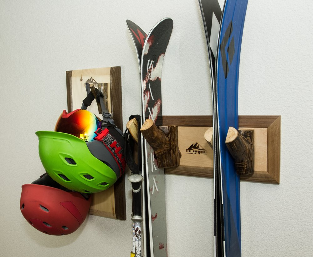The Meaden ski rack pairs perfectly with the Fish Creek helmet rack.