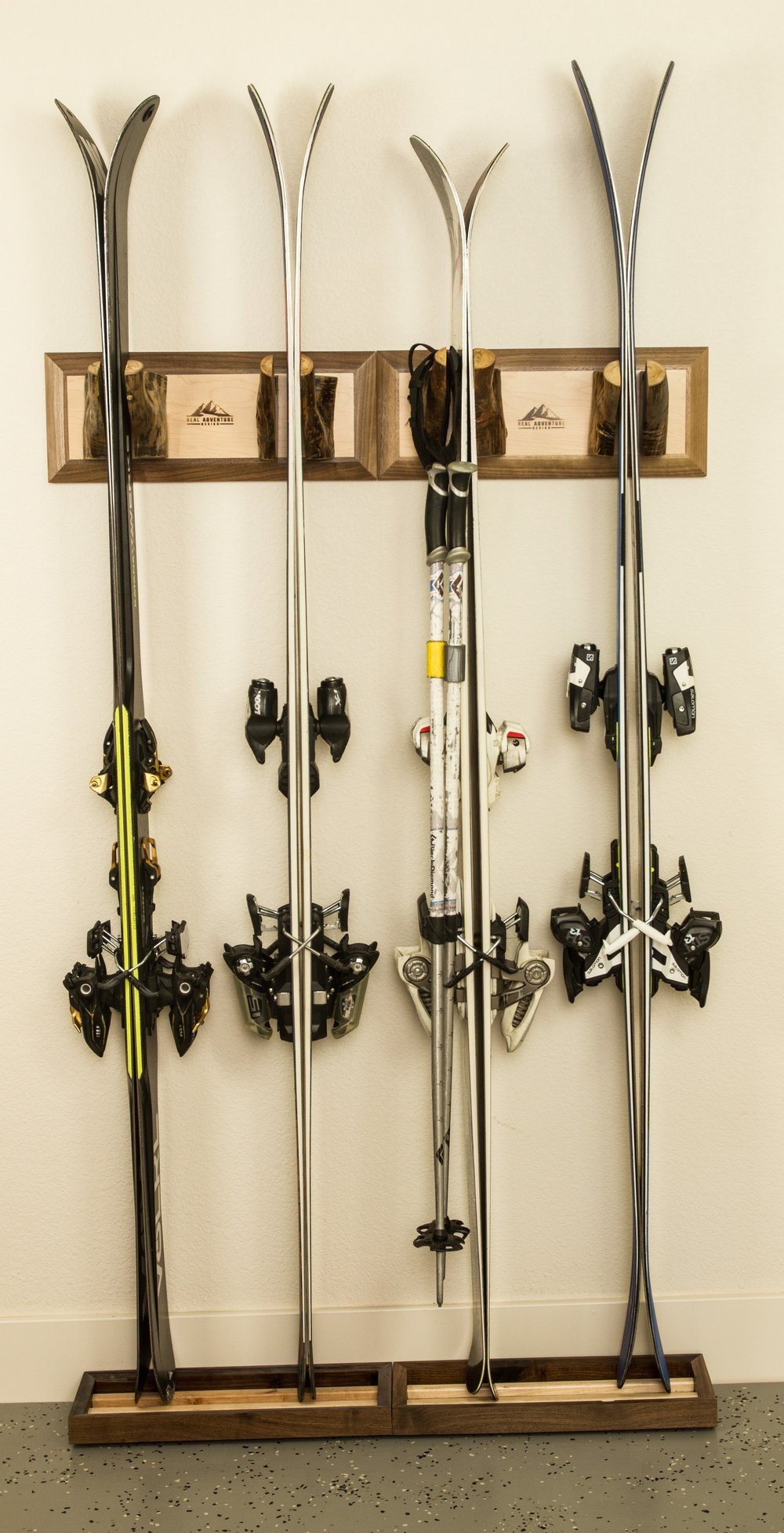 Once the kids are grown, the Meaden ski rack is modular - add them together for more ski capacity.
