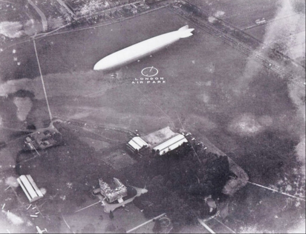 Grounds of Hanworth Park House being used for a flying club between the wars