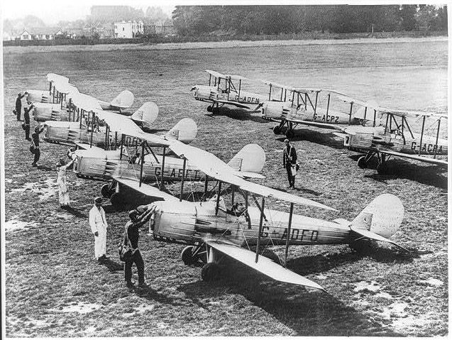 Rows of Biplanes at Hanworth airfield. From Ebay