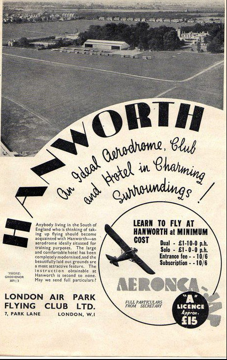 An advert/poster for the Airpark club and hotel in 1936.