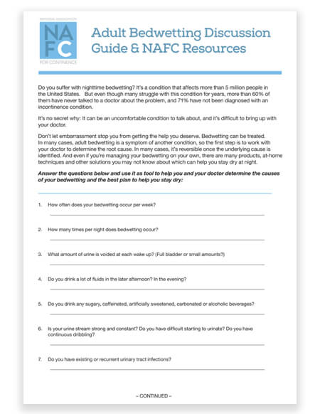 Adult Bedwetting Discussion Guide