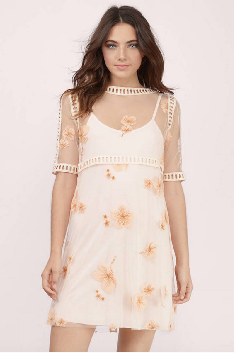 2. Embroidered floral shift dress.