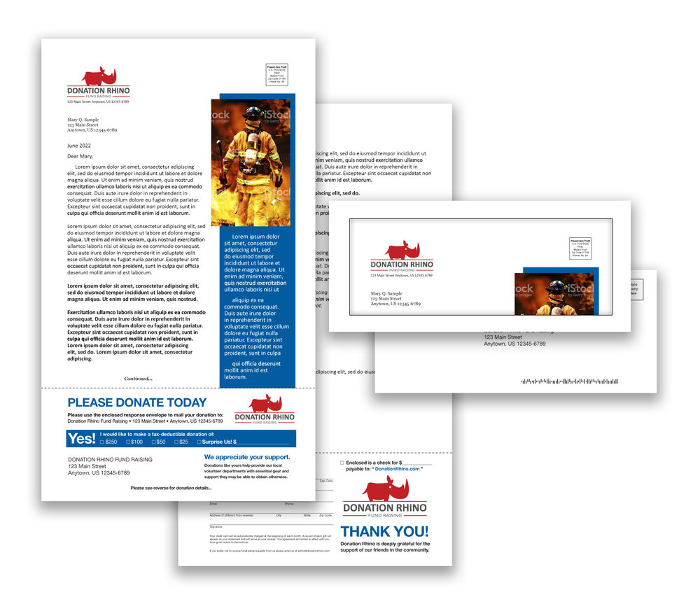 Fire department fundraising direct mail package