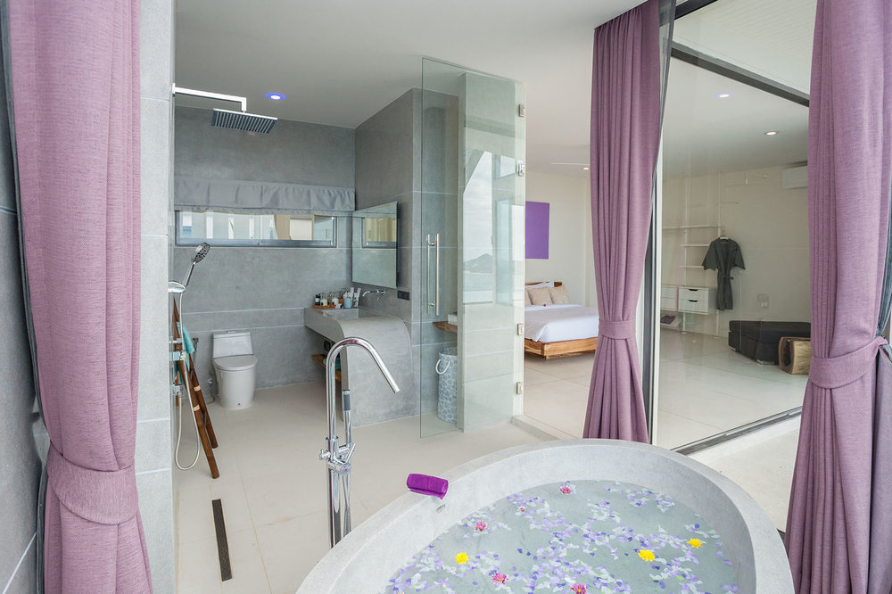Bath overlooking the bedroom