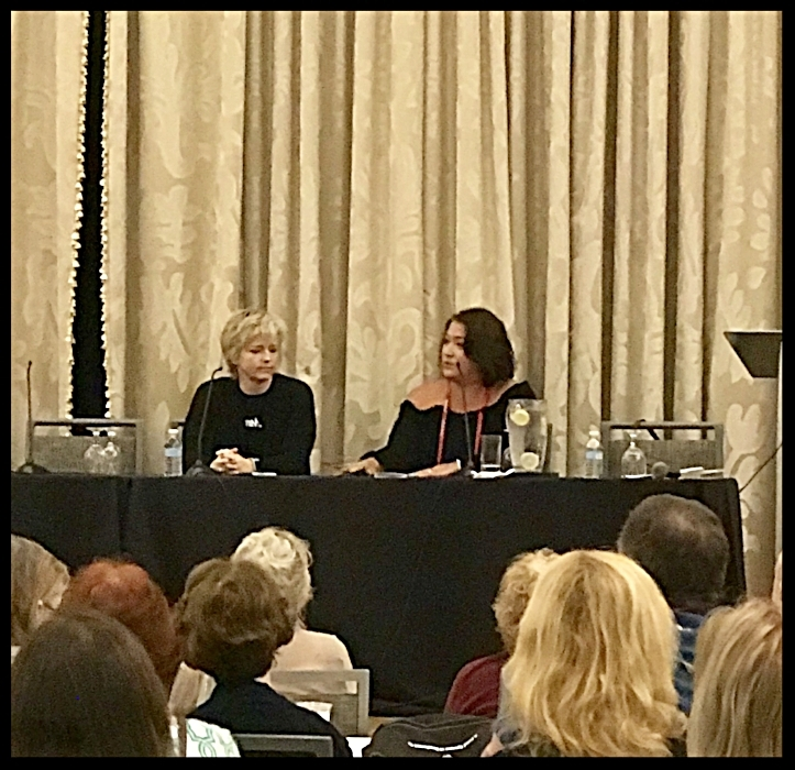 Karin Slaughter being interviewed by Alafair Burke at Bouchercon 2018.jpg