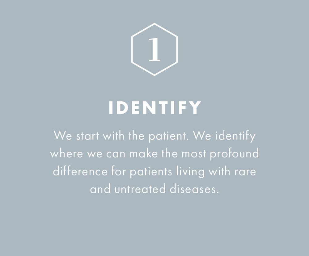 We start with the patient. We identify where we can make the most profound difference for patients living with rare and untreated diseases.