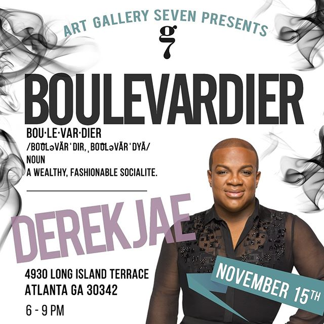 First seven people to repost get free admission... make sure you @artgalleryseven!  Boulevardier exhibition |  November 15th, 6p-9p | Commissioned project by Derek Jae with Artist Henry Dale House 📌Come enjoy a fabulous evening showcasing Derek Jae and his commissioned project with @henrydalehouse ❗️Atmosphere, Light Bites and Music  November 15th, 2018 6:00 -9:00 📍4930 Long Island Terrace Atlanta, Ga 30342 🎟$7 Early Bird Tickets // $15 Regular Ticket Price Link to RSVP in Bio 📷 Photographer: @ekassa 🎭Chef: @chefbelladolce ____________________________ @derekjhair  @henrydalehouse  @artgalleryseven  @brendajoyce7 @itsleash  #fineart#art#abstractart#contemporaryart#artwork#atlantaart #artistsoninstagram #artist#contemporaryartist  #artiststudio #atlantavenues#collectart#artbuyers #artforsale #curate#artgalleryseven#gallerysevenfineart#gallerysevennewlook #artgallery#gallerylife#grind#girlpower