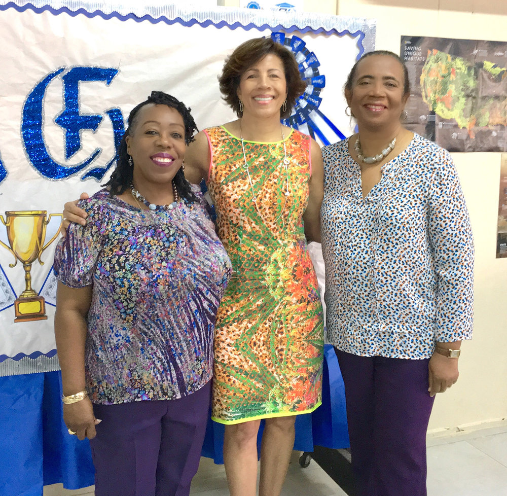(L to r) Linda Fisher, librarian, The Government High School; Earla Bethel of DanBrad Ltd, first sponsor to the Guanima Press Ltd book-giveaway project and Patricia Glinton-Meicholas, author, Lusca and Other Fantastic Tales.