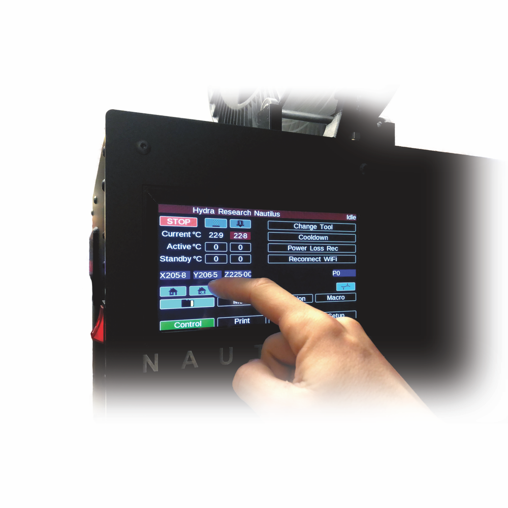 Print - A large 7in full color touch screen makes navigating the Nautilus' menus quick and intuitive. Easily start prints, load material, change tools, and more without having to battle complicated menu systems on a small low res display.
