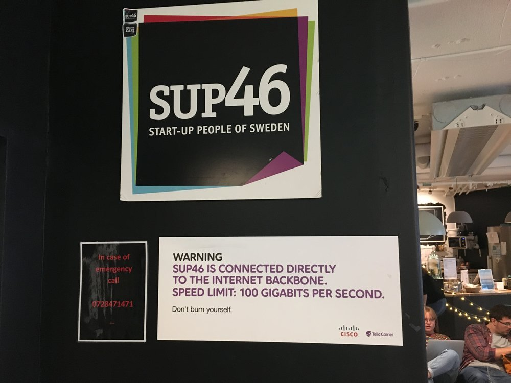 SUP46 is connected to the Internet backbone with a speed of 100 GBps