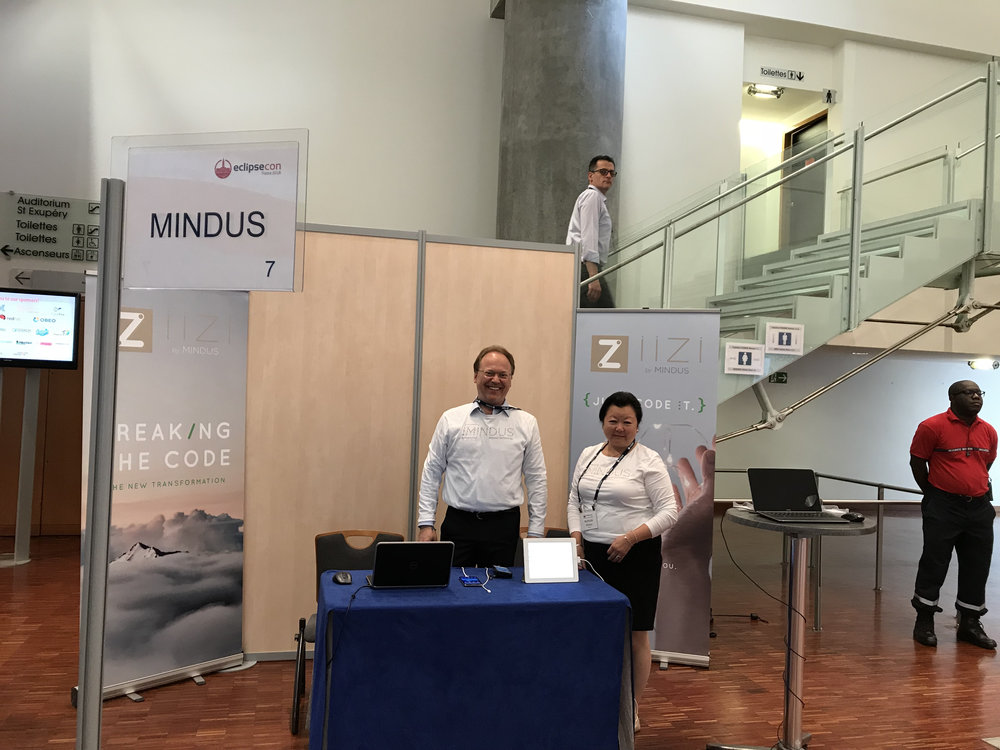 Mindus EclipseCon booth ready, and in a very strategical location