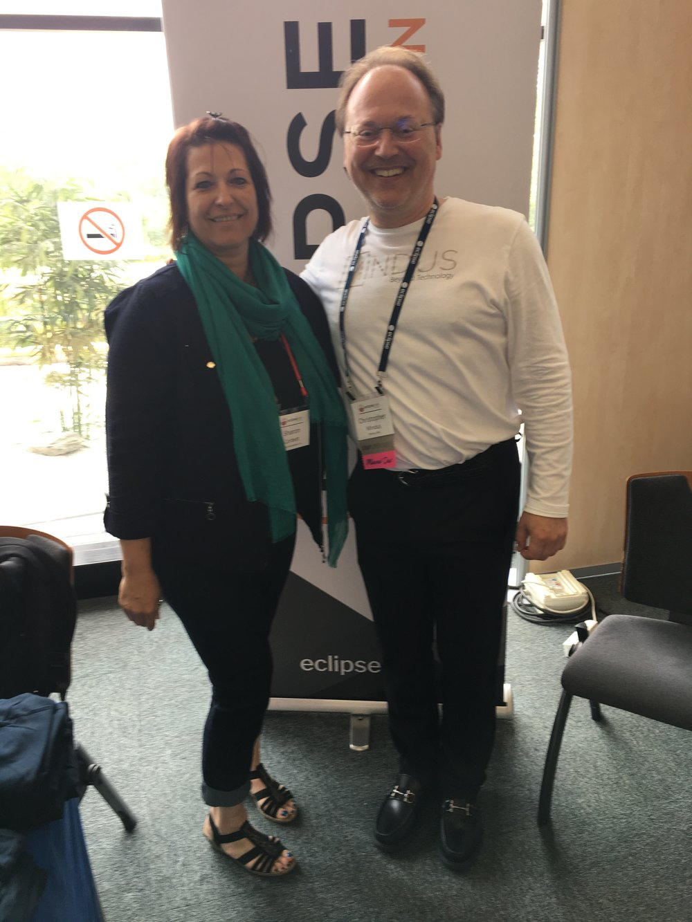 EclipseCon's Sharon Corbett with Christopher Mindus
