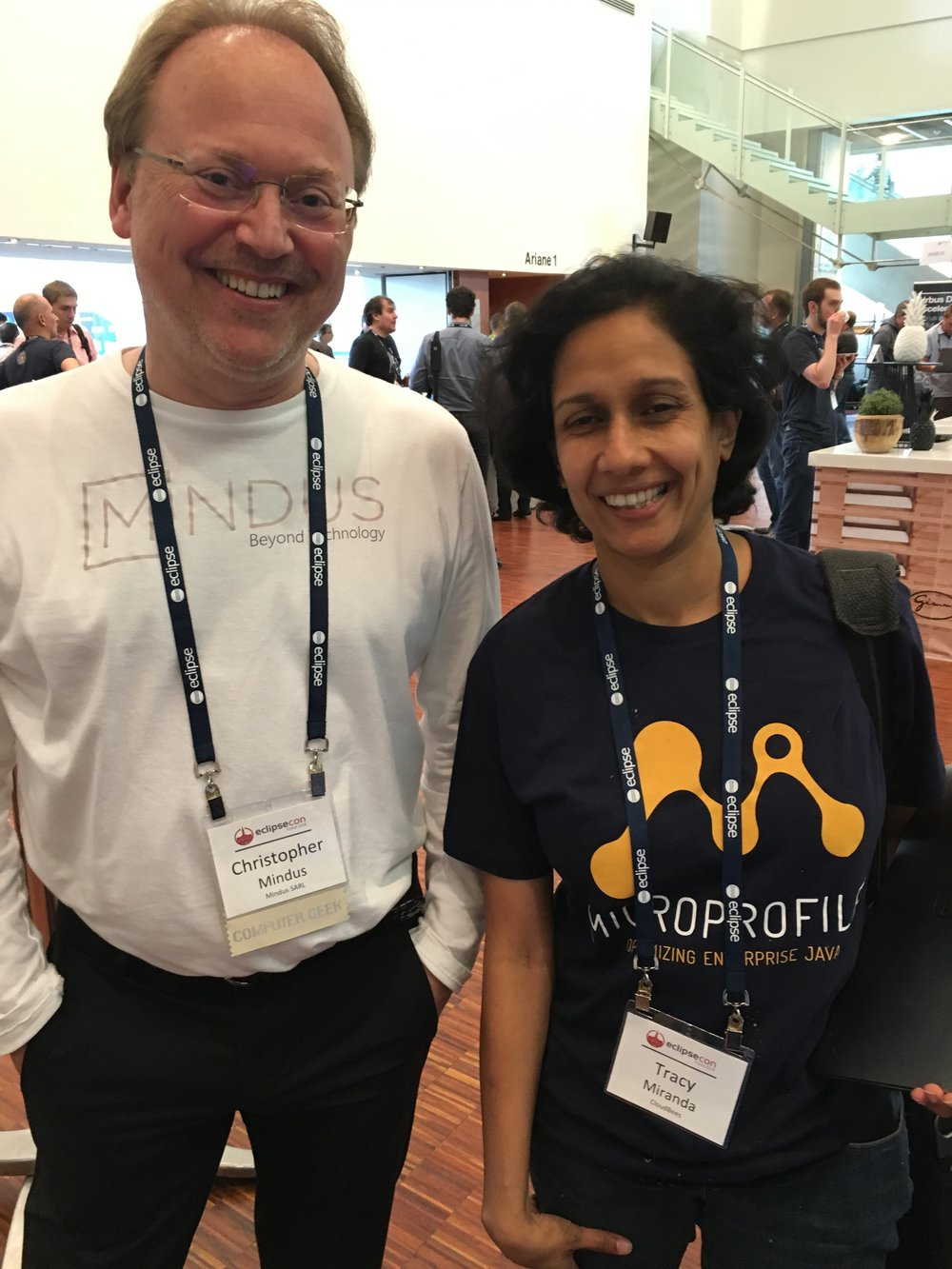 Christopher Mindus with CloudBees Tracy Miranda at EclipseCon