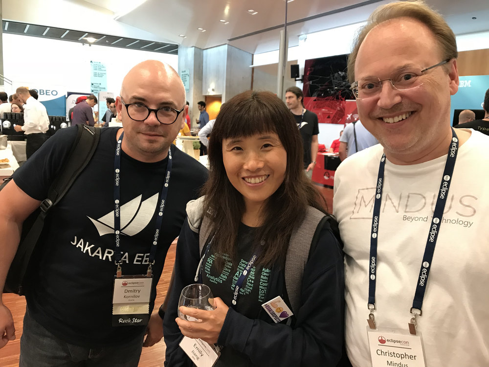 EclipseCon's Jakarta EE panel, Oracle's Dmitry Kornilov, IBM's Emily Jiang with Christopher Mindus