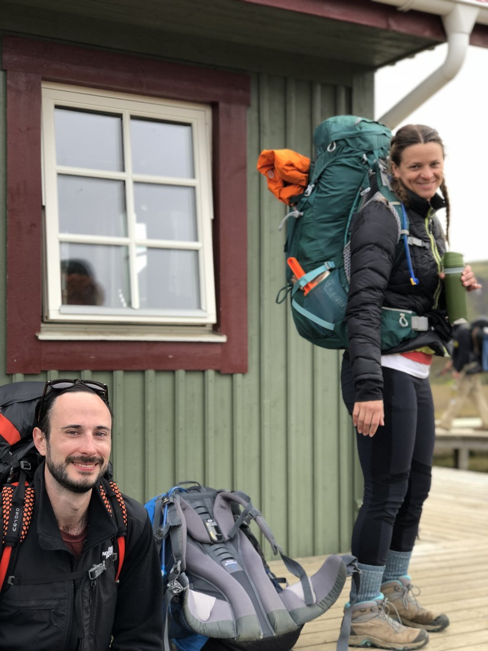 My fiancee (ee!) and my friend Alli, along with my awesome but inexpensive pack on our backpacking trip in Iceland!