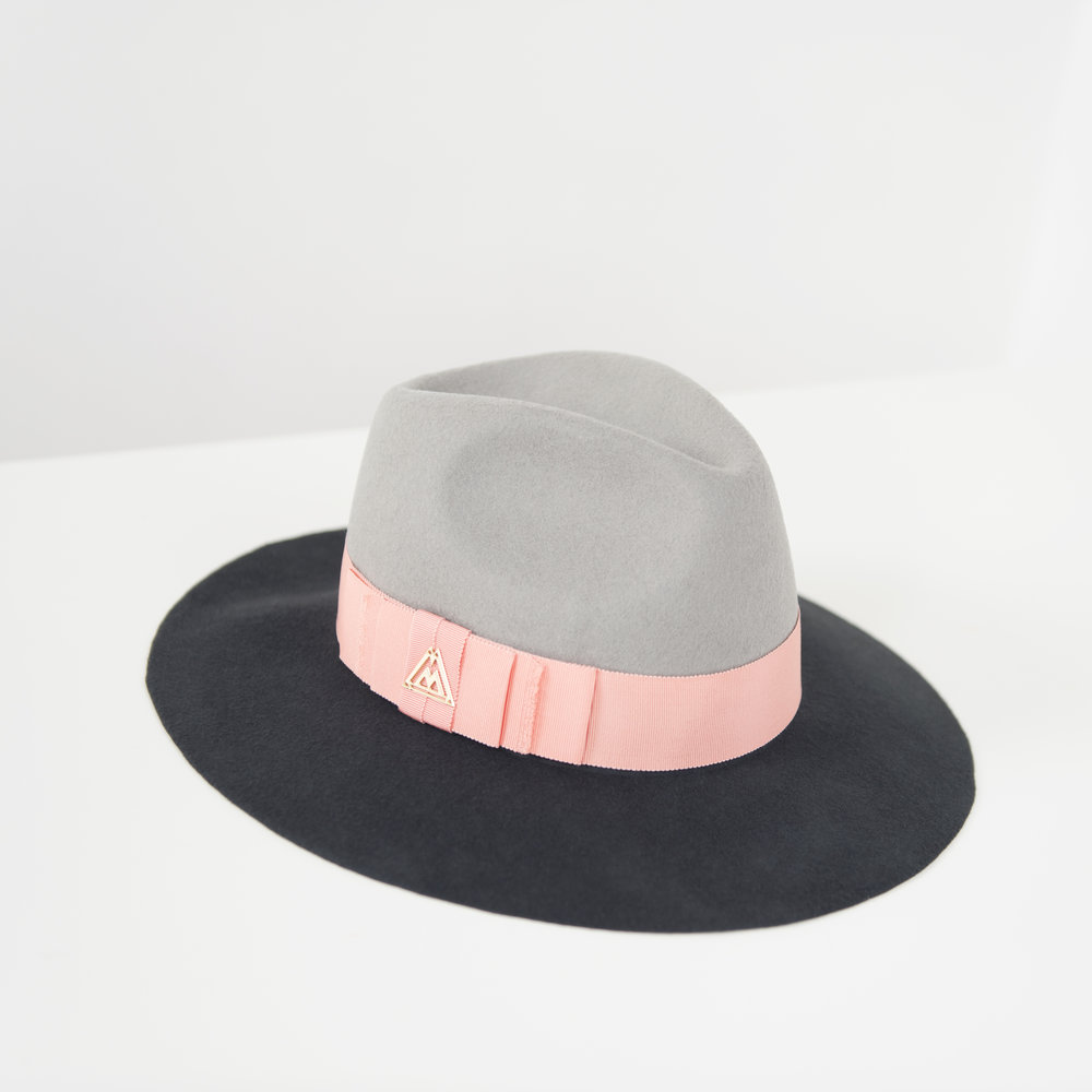 Monty opal grey and charcoal brim lola wool felt fedora hat — 1n1 ... ac8c0e68eff