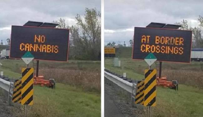 A sign on an Ontario highway warn drivers to not bring pot to border crossings, Oct. 17, 2018. Global News