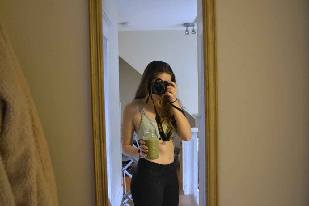 Typical vegan, taking a selfie while holding a green smoothie *eye roll*I am honestly embarrassed about this photo, but wanted to include it for transformation purposes.