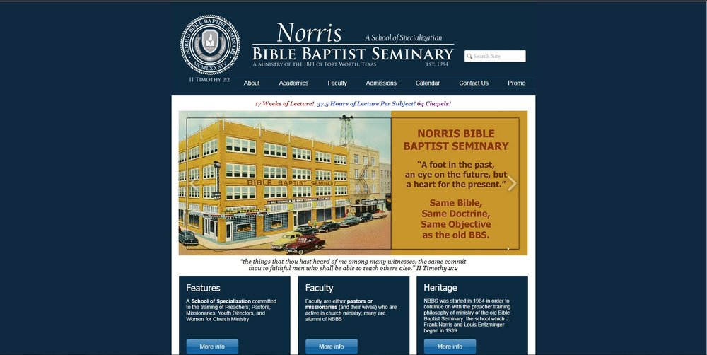 Norris Bible Baptist Seminary Website