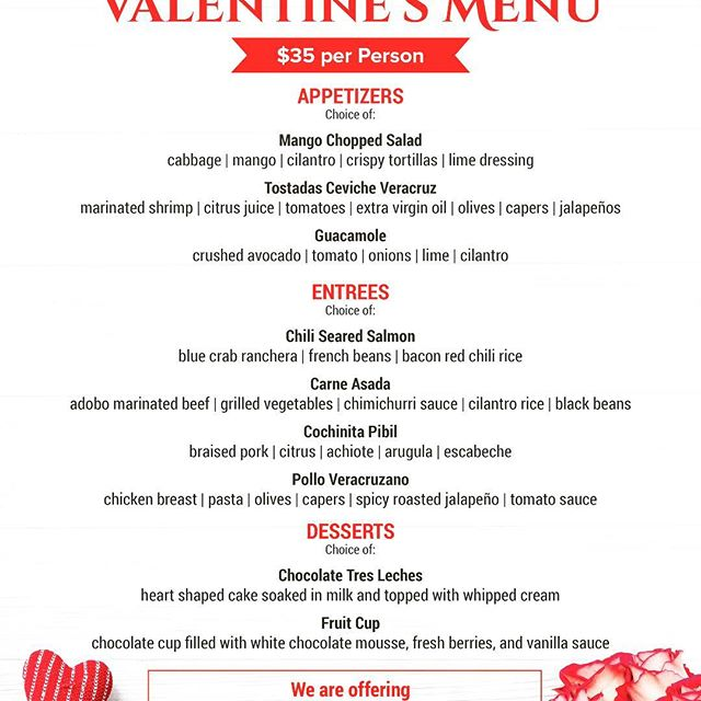 It's not to late for Valentine's reservations but time is running out! #mesagrapevine
