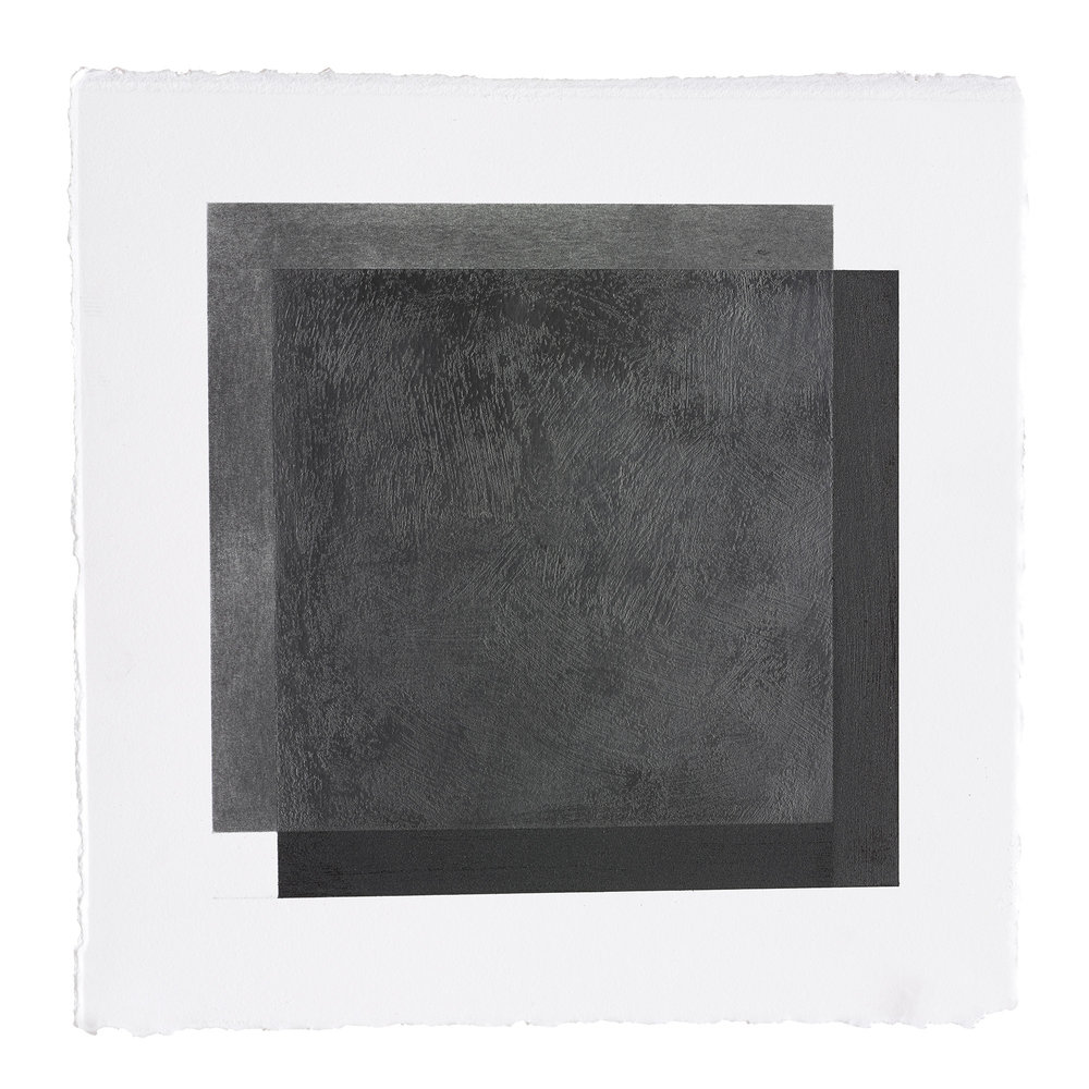 "ML34 peach pit soot and graphite on paper, 10.5"" by 10.5"", 2015"