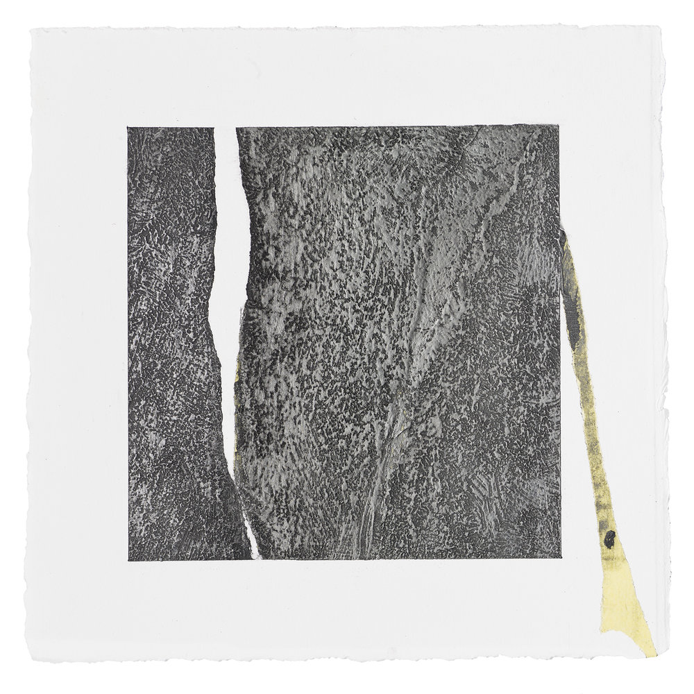 "ML61, peach pit soot, rabbit skin glue, graphite, 10.5""x10.5"" paper, 2016"