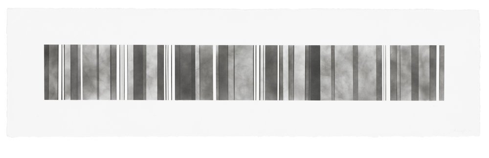 Barcode Series B10, smoke on paper, 11 by 40.5 inches, 2012