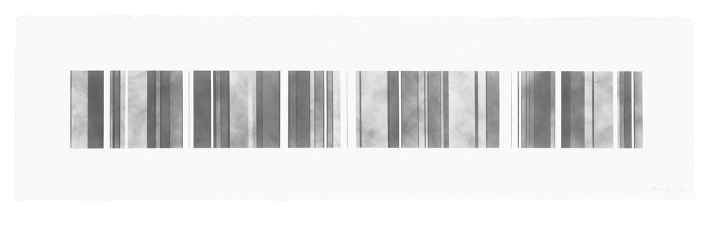 Barcode Series B 17, smoke on  paper, 11 by 40.5 inches, 2013