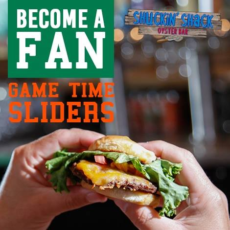 "Game Time Burger Sliders are available ""for a Limited Time Only"" at Shuckin' Shacks in the Southeast!"