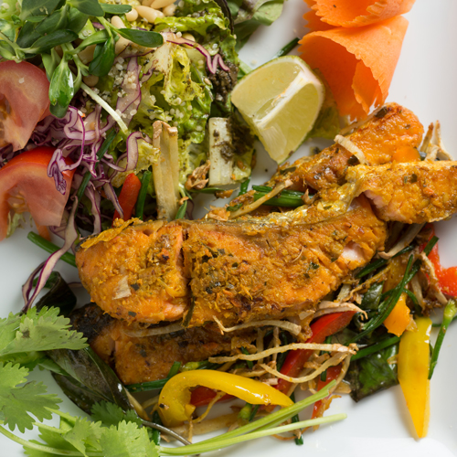LEMONGRASS-TURMERIC SALMON WITH FERMENTED TEA LEAF SALAD