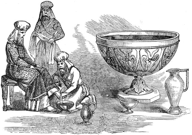 Figure 6 – Kohanim washing their feet from The Bronze Laver