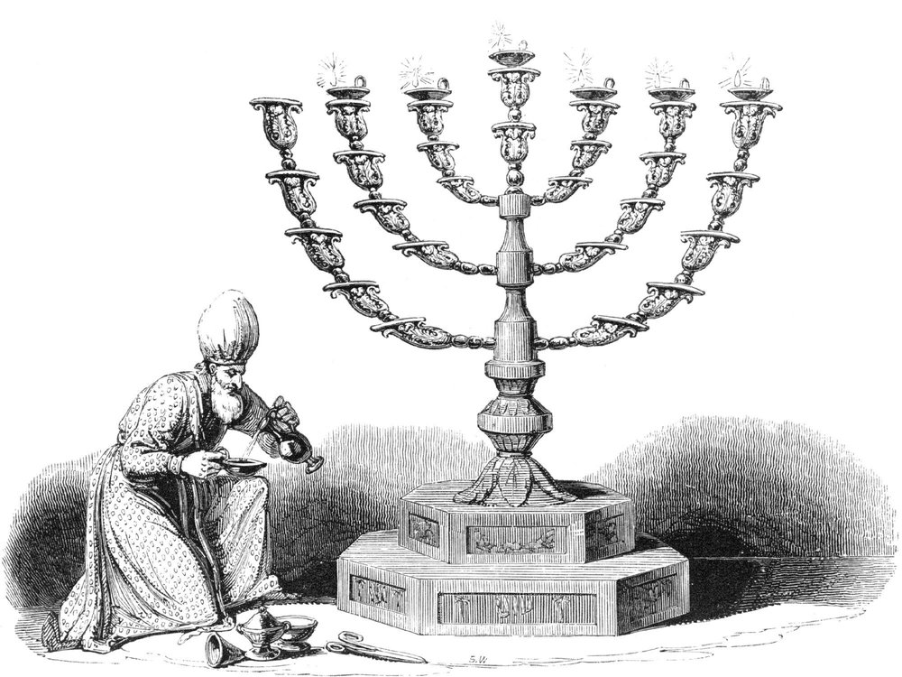 Figure 10 - Kohen pouring Olive oil into the Golden Lampstand