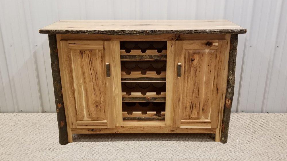Hickory Buffet Table Wine Rack Ez Mountain Rustic Furniture