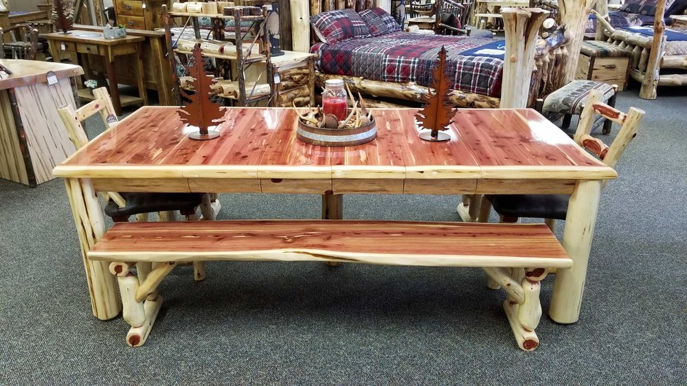 Red Cedar Live Edge Table With Leaves Ez Mountain Rustic Furniture