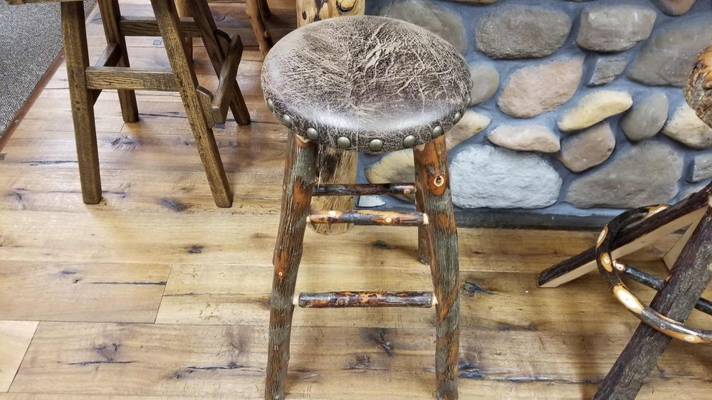 Hickory Padded Round Bar Stool Ez Mountain Rustic Furniture