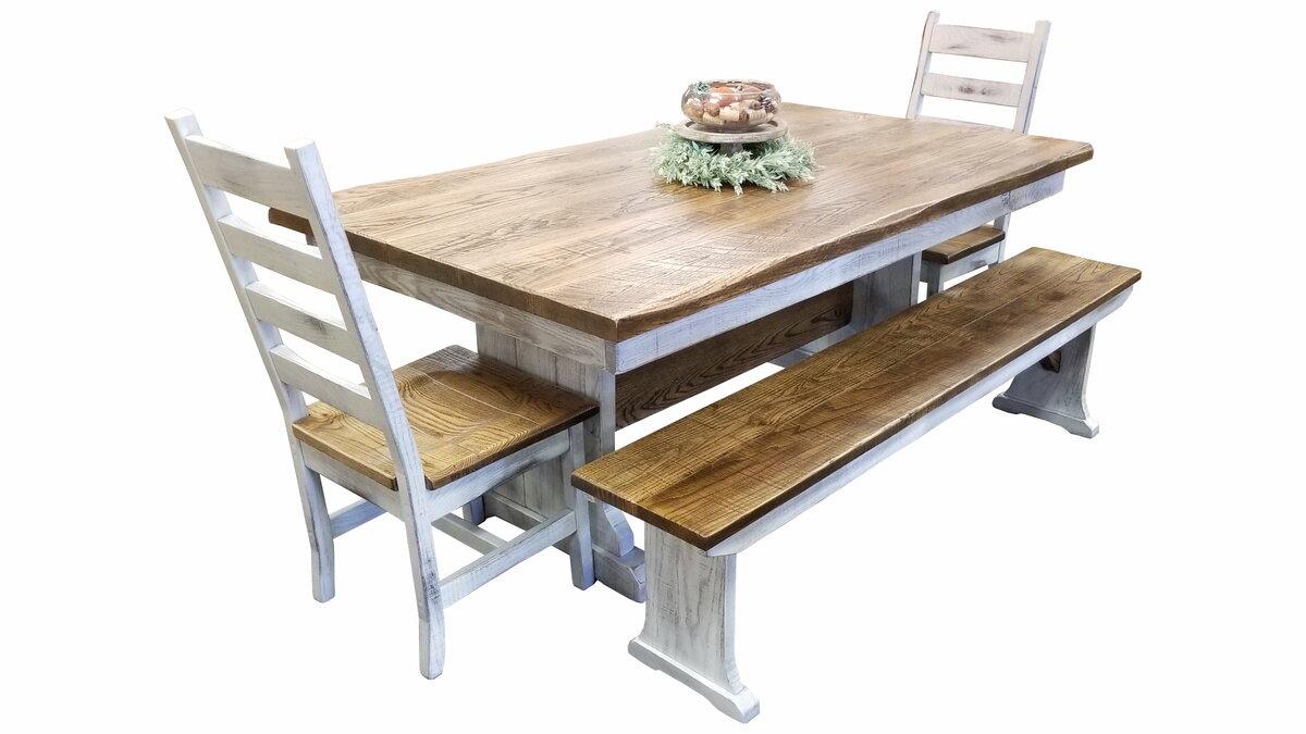Rough Cut Oak Farm Table Ez Mountain Rustic Furniture