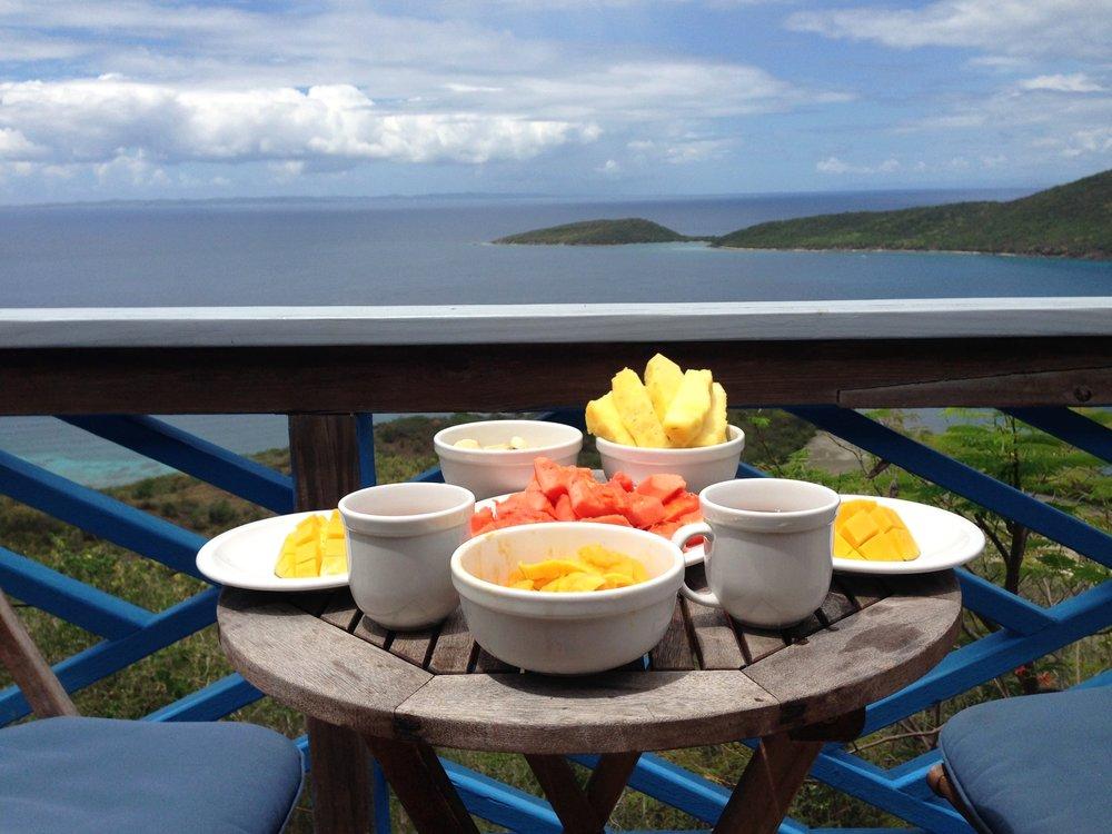 Desayuno con diamantes en nuestra cabañita de la Isla de Culebra, Puerto Rico.