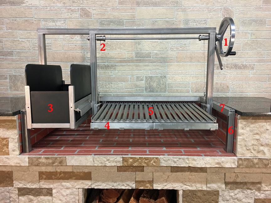 1) Temperature Control Crank Wheel 2. 'V' Groove Grill Plates 3)