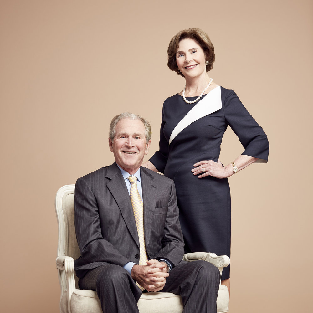 President George W. Bush and Laura Bush, photographed at the Bush Library in Dallas, TX for Glamour Magazine.