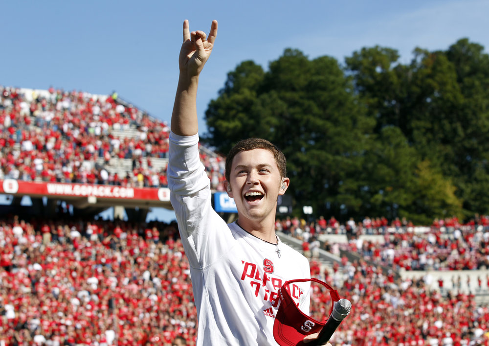 Scotty after singing the National Anthem at an N.C. State football game | Photo by Scott Sharpe