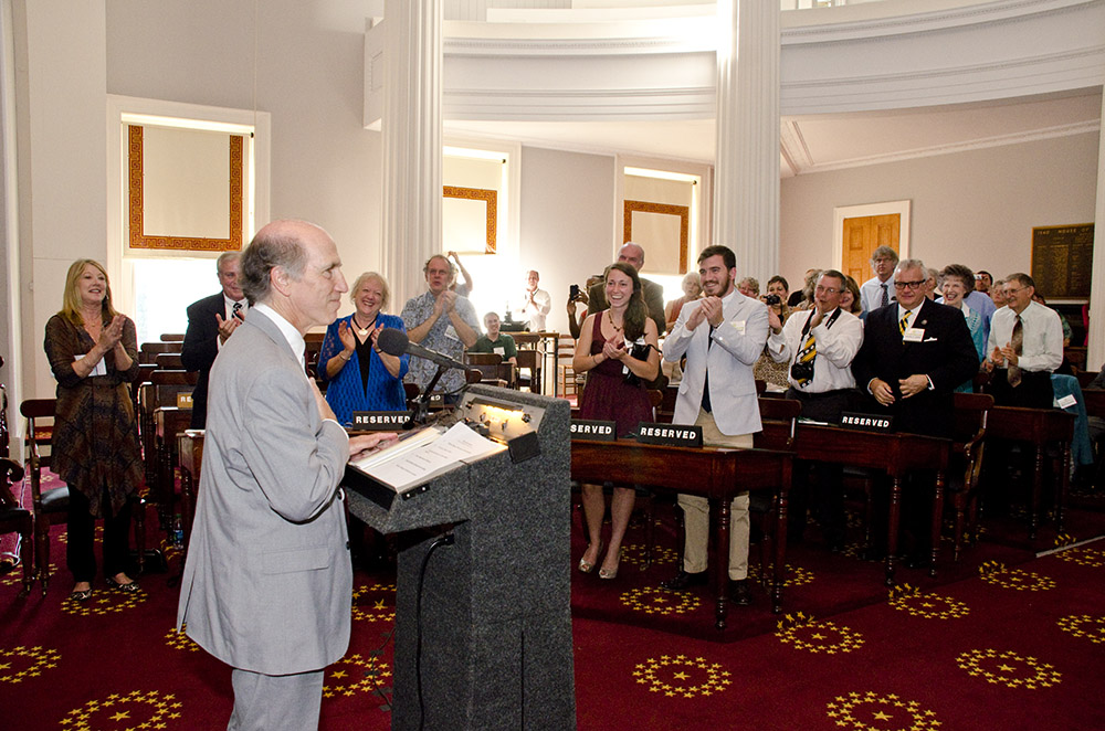 Joseph Bathanti at the Poet Laureate induction ceremony in 2012.