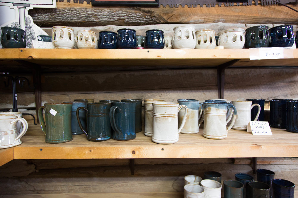 Pottery pieces in Glenn and Lula Bolick's pottery shop.