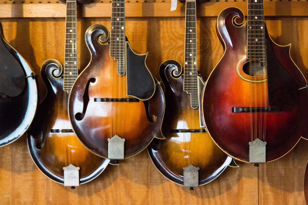 A small sampling of mandolins Tony carefully stores and maintains at Mandolin Central.