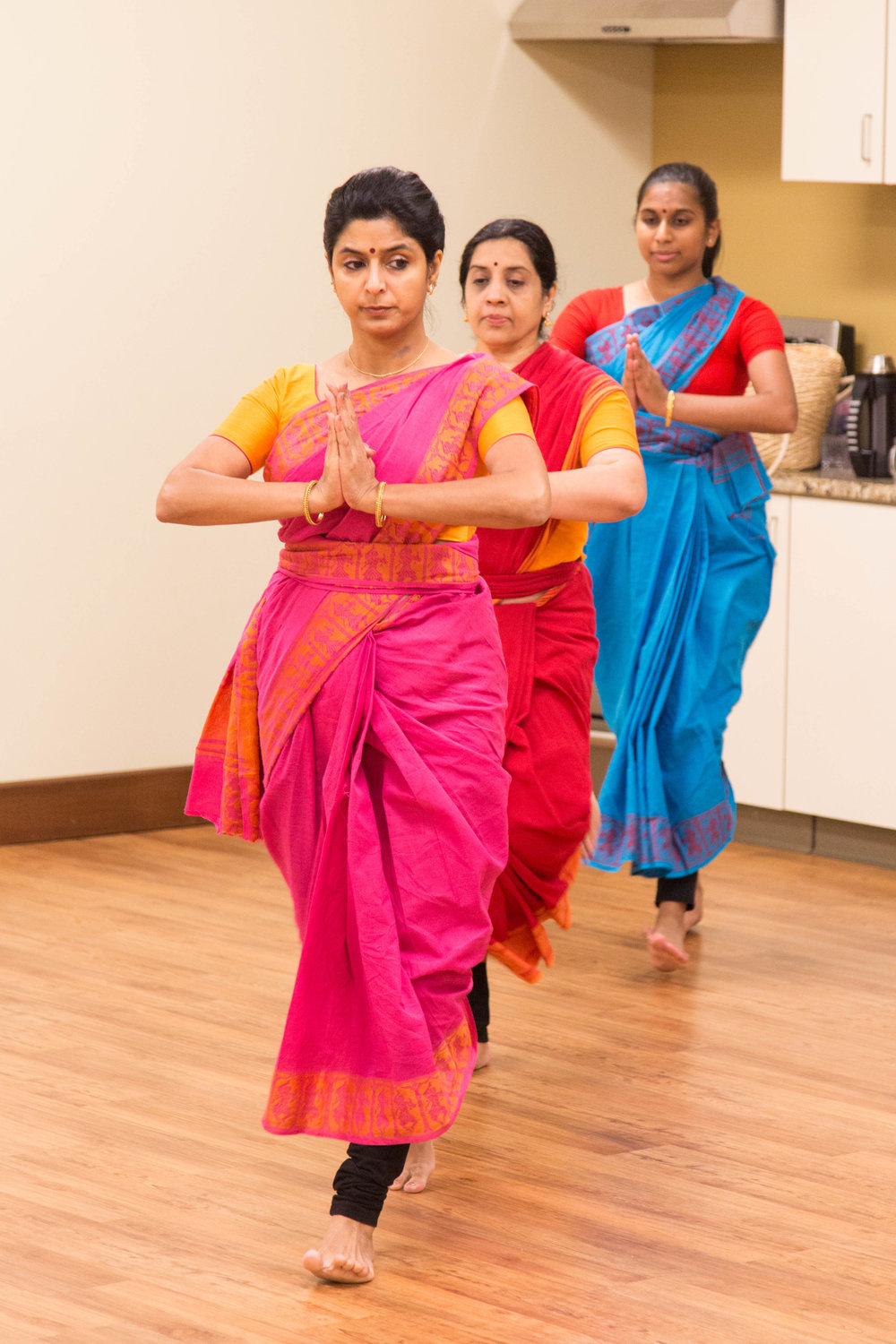 Three adult women performing at Leela School of Dance in Cary.