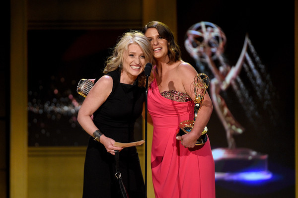 "Cynthia Hill and Vivian Howard accept a Daytime Emmy Award for their show ""A Chef's Life."" Source: Kevork Djansexian/Getty images North American"