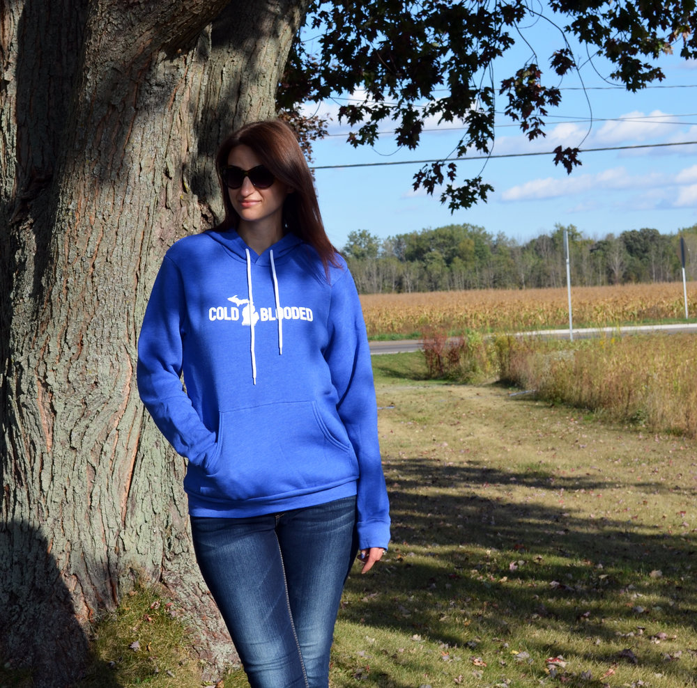 Cold Blooded Unisex Hoodie, Hooded Sweatshirt, Michigan apparel, Michigan hoodie, Michigan winter, Michigan fall, autumn, fall fashion, winter fashion, casual style