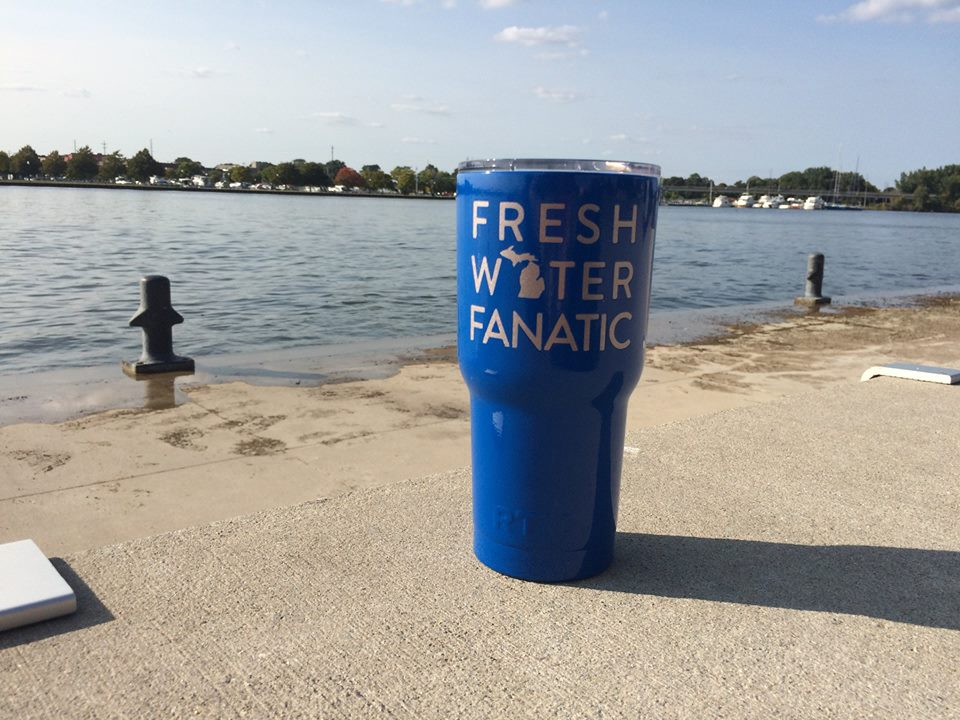 Yeti Tumbler, Powder Coated, Freshwater Fanatic, Rtic Tumbler, Coffee to go, Hot beverages, Mitten Made, Mitten Love, Michigan Winter, Michigan fashion, Muskegon, Detroit, Great Lakes