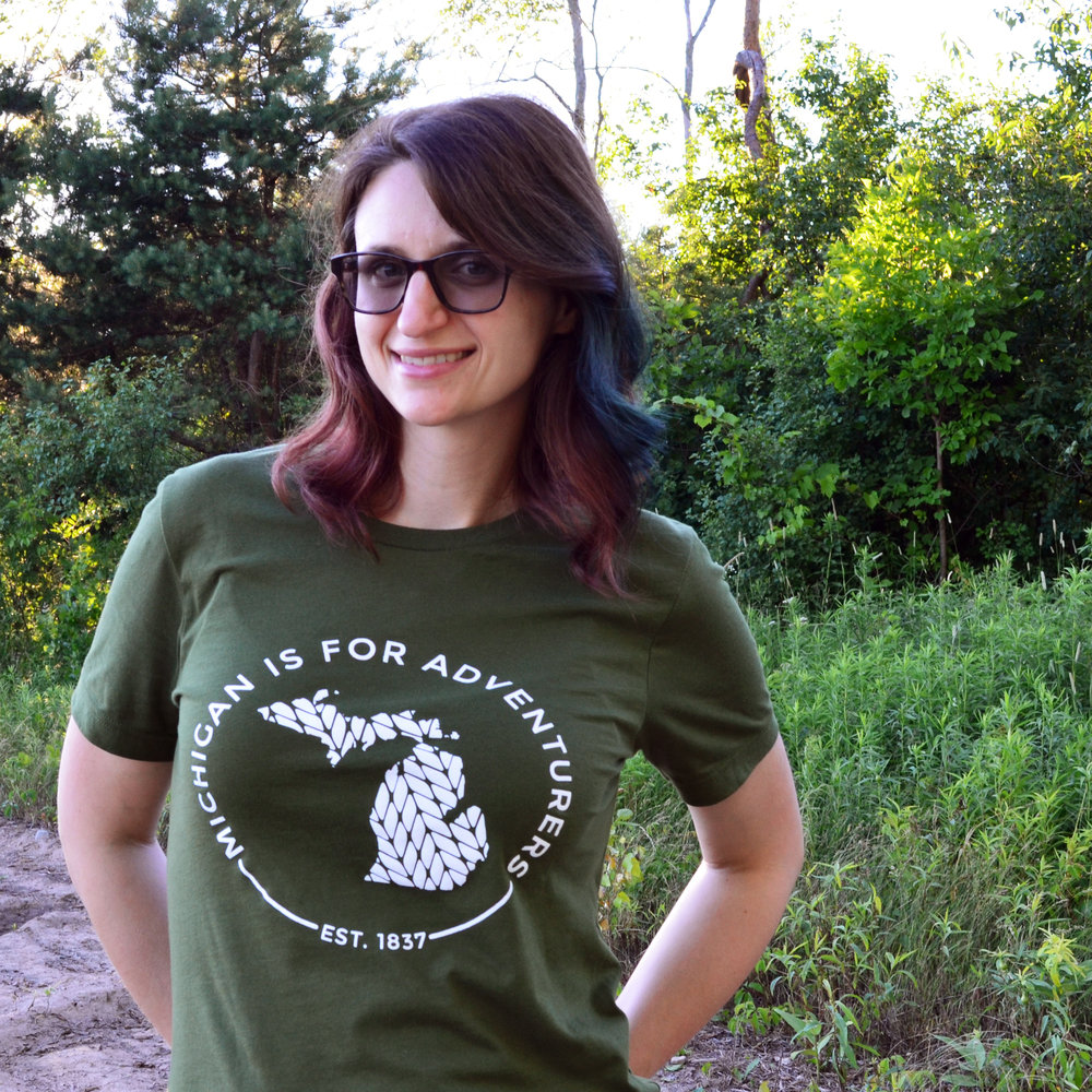 Trek, Road Trip, Explore, Adventure, Discover, Michigan, MI, Off Road, Michigan is for Adventurers, MFA, Olive Green Tee, Michigan small business, shop local, Shop Nearby, Annie Stout, Graphic Designer