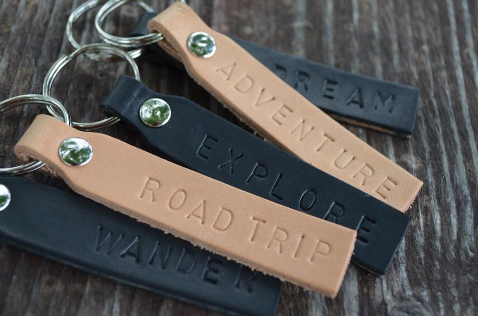 Hand Stamped Leather, Key Chain, Keys, Gift, Wander, Dream, Adventure, Road Trip, Explore, Michigan